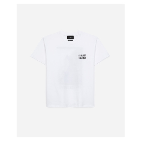 The Kooples - White cotton T-shirt with screen print - WOMEN