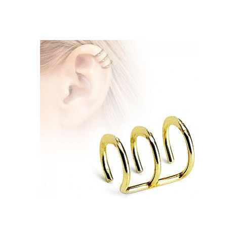 earrings Body Art RSFXG - 03/Triple Ring Gold Ip Over/Clip On