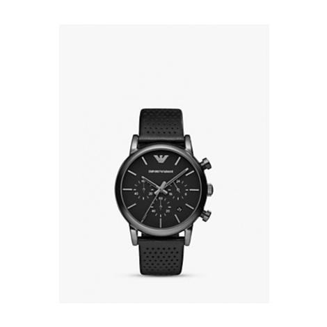 Emporio Armani AR1737 Men's Chronograph Stainless Steel Black Leather Strap Watch, Black