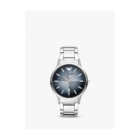 Emporio Armani AR11182 Men's Degrade Dial Date Bracelet Strap Watch, Silver/Blue