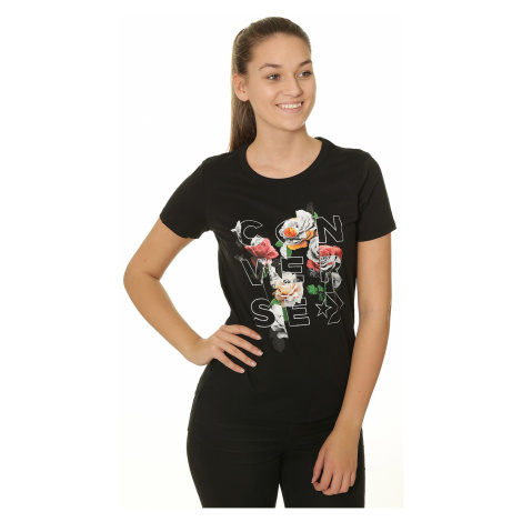 T-Shirt Converse Wordmark Floral Crew/10009025 - A02/Black - women´s
