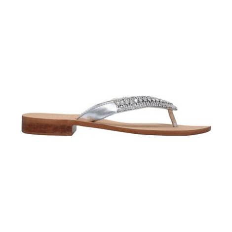 Carvela Breanne 2 Embellished Flat Sandals, Silver Leather