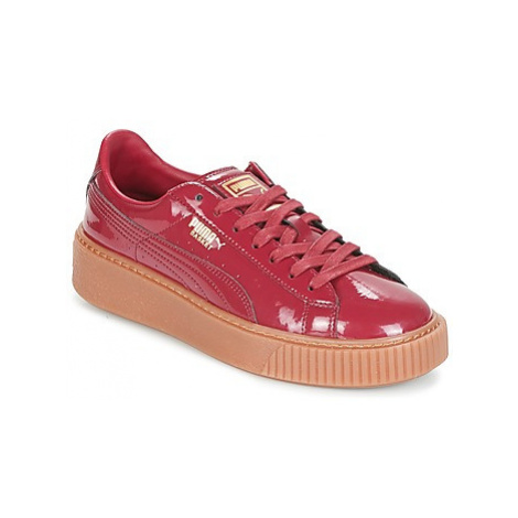 Puma Basket Platform Patent women's Shoes (Trainers) in Bordeaux