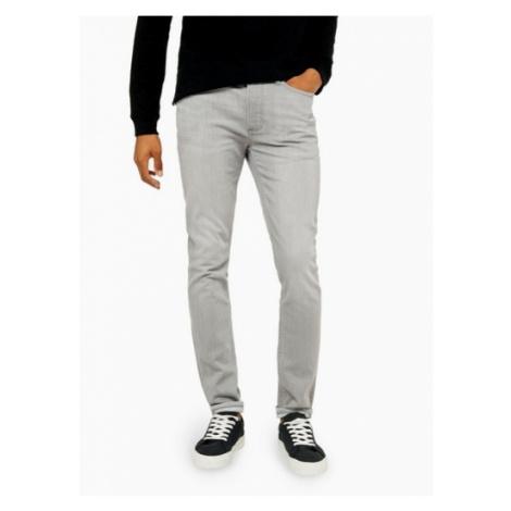 Mens Light Grey Stretch Skinny Jeans, Grey Topman