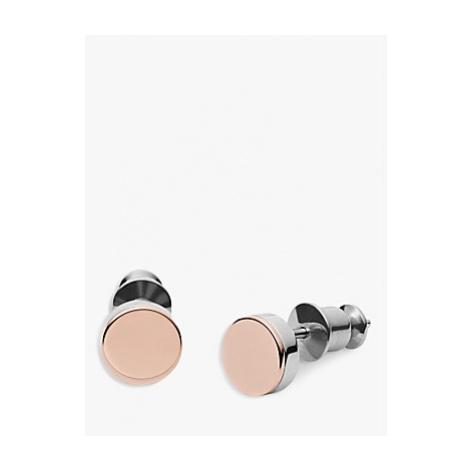 Skagen Elin Round Stud Earrings, Rose Gold/Silver SKJ0959998