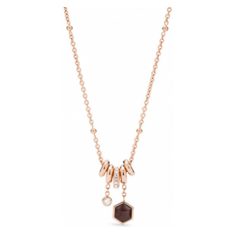 Fossil Women Hexagon Rose Gold-Tone Stainless Steel Necklace - One size
