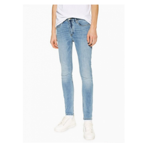 Mens Blue Considered Light Wash Spray On Skinny Jeans, Blue Topman