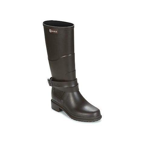 Aigle MACADAMES women's Wellington Boots in Brown