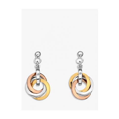 Hot Diamonds Trio Round Drop Earrings, Silver/Gold Multi