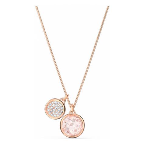 Tahlia Double Pendant, Pink, Rose-gold tone plated Swarovski