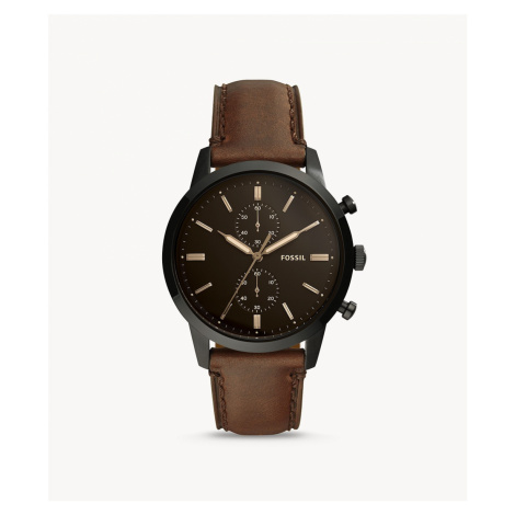 Fossil Men's Townsman 44 mm Chronograph Brown Leather Watch
