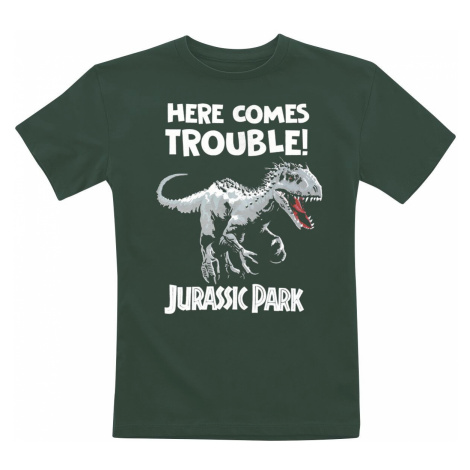 Jurassic Park Here Comes Trouble! T-Shirt bottle green