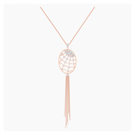 Precisely Necklace, White, Rose-gold tone plated Swarovski
