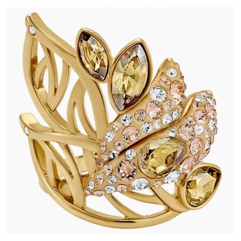 Graceful Bloom Cocktail Ring, Brown, Gold-tone plated Swarovski