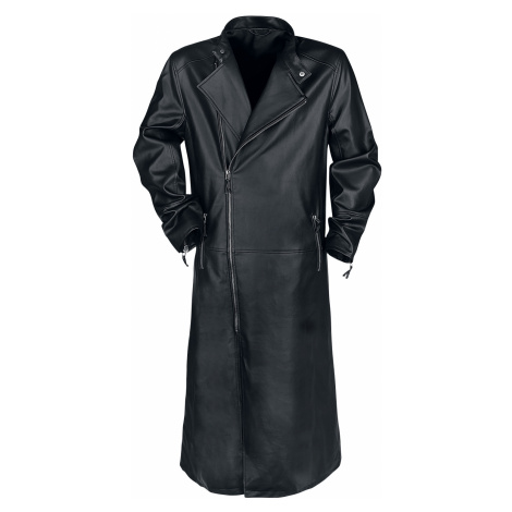 Black Coat - - Imitation leather coat - black