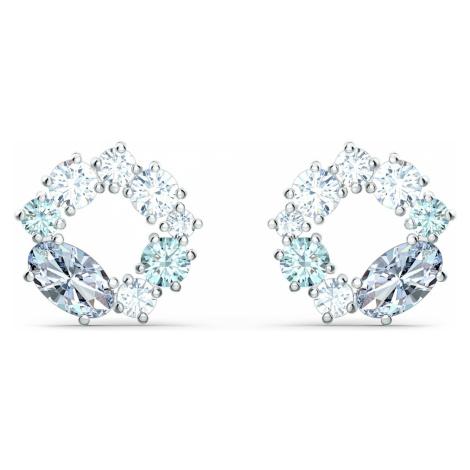 Attract Circle Stud Pierced Earrings, Rhodium plated Swarovski