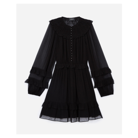 The Kooples - Short black dress with smocking and frills - WOMEN