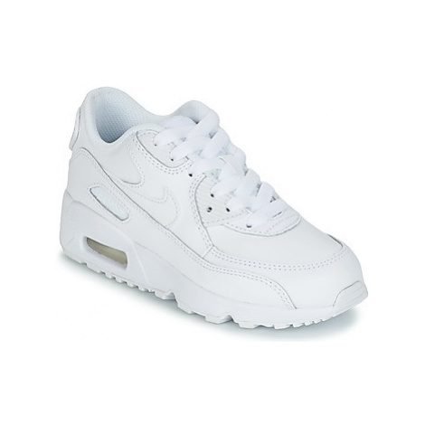 Nike AIR MAX 90 LEATHER PRE-SCHOOL girls's Children's Shoes (Trainers) in White