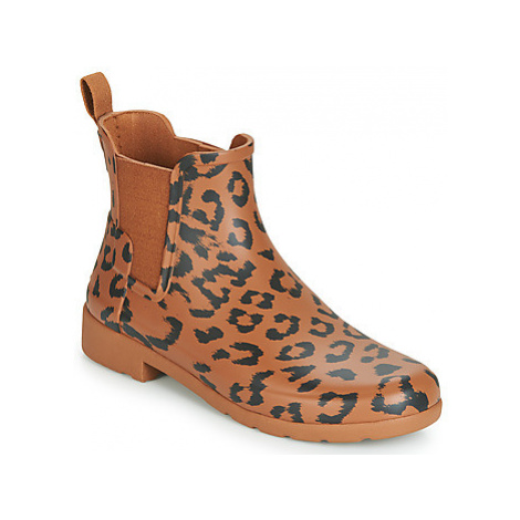 Hunter ORG REFINED CHELSEA HYBRD PRNT women's Wellington Boots in Brown