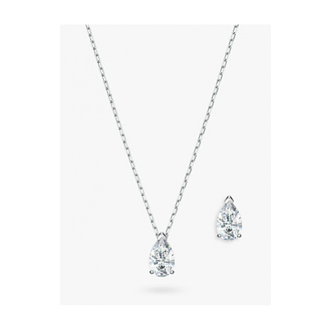 Swarovski Crystal Pear Shape Stud Earrings and Pendant Necklace Jewellery Gift Set, Silver