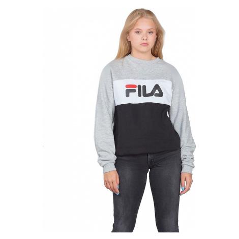 sweatshirt Fila Night Blocked Crew - Light Gray Melange/Black/Bright White - unisex junior