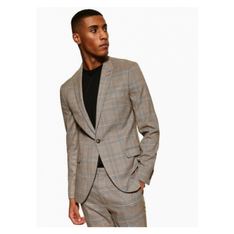 Mens Stone Super Skinny Fit Check Single Breasted Blazer With Peak Lapels, Stone Topman