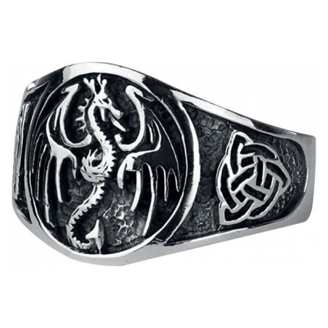 EtNox hard and heavy Dragon Ring silver coloured