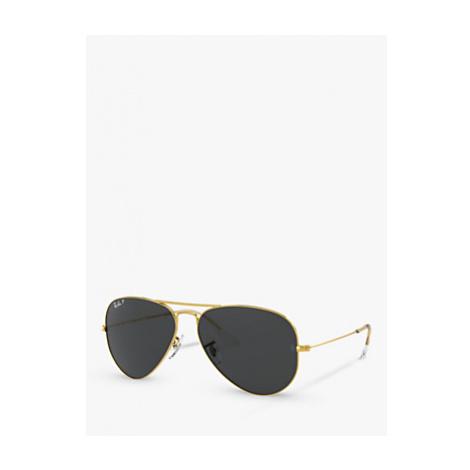 Ray-Ban RB3025 Unisex Polarised Aviator Sunglasses, Legend Gold/Black