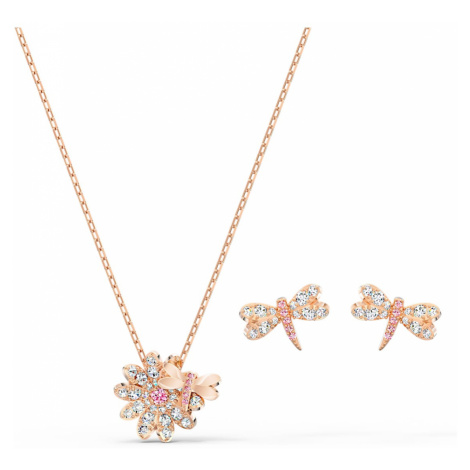 Eternal Flower Dragonfly Set, Pink, Rose-gold tone plated Swarovski
