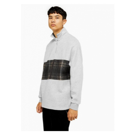 Mens Grey Check Panel 1/4 Zip Sweatshirt, Grey Topman