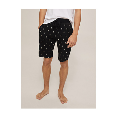 Polo Ralph Lauren All Over Pony Print Cotton Jersey Lounge Shorts, Black