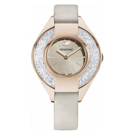 Crystalline Sporty Watch, Leather strap, Grey, Champagne-gold tone PVD Swarovski