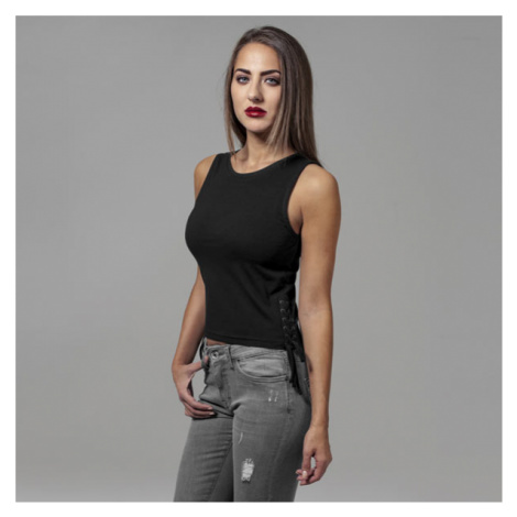 Urban Classics Ladies Lace Up Cropped Top black