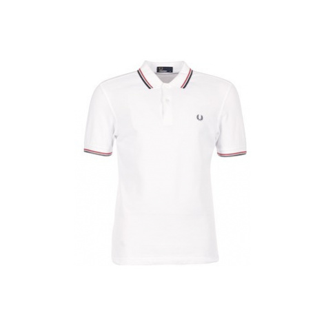 Fred Perry SLIM FIT TWIN TIPPED men's Polo shirt in White