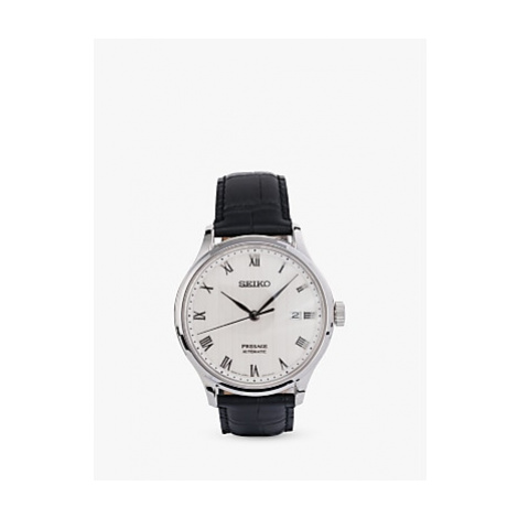 Seiko SRPC83J1 Men's Presage Automatic Date Leather Strap Watch, Black/White