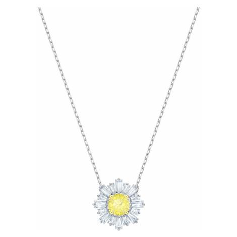 Sunshine Pendant, Yellow, Rhodium plated Swarovski