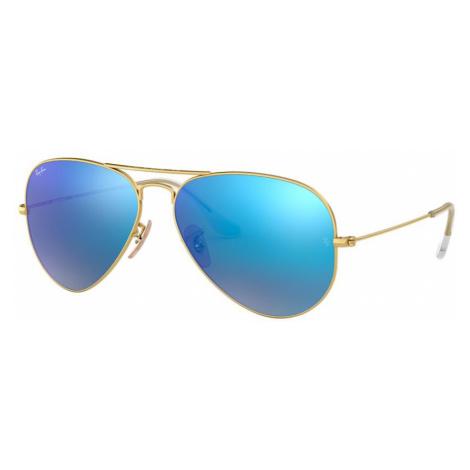Ray Ban Unisex RB3025 AVIATOR FLASH LENSES - Frame color: Gold, Lens color: Blue Flash, Size 55-
