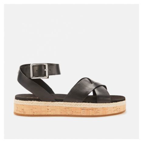 Clarks Women's Botanic Poppy Leather Flat Sandals - Black - UK