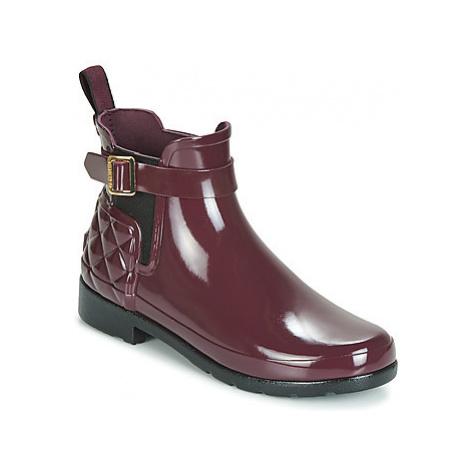 Hunter REFINED GLOSS QUILT CHELSEA women's Wellington Boots in Bordeaux