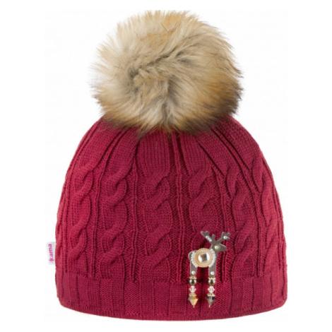 Kama HAT WITH DEER BROOCH BBANFF red wine - Women's winter hat with deer brooch