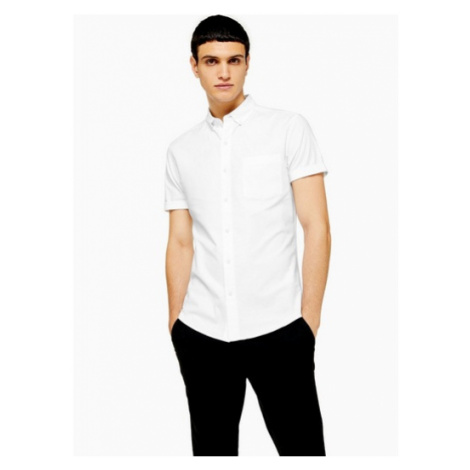 Mens White Muscle Fit Oxford Shirt, White Topman