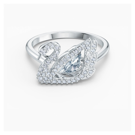 Dancing Swan Ring, White, Rhodium plated Swarovski
