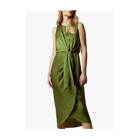 Ted Baker Pohshan Knotted Waist Midi Wrap Dress, Khaki