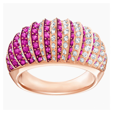 Luxury Domed Ring, Pink, Rose-gold tone plated Swarovski