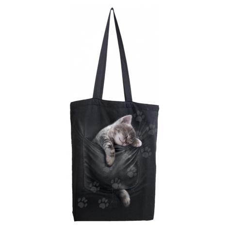 Spiral Pocket Kitten Fabric bag black