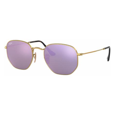 Ray-Ban Hexagonal flat lenses Man Sunglasses Lenses: Violet, Frame: Gold - RB3548N 001/8O 48-21