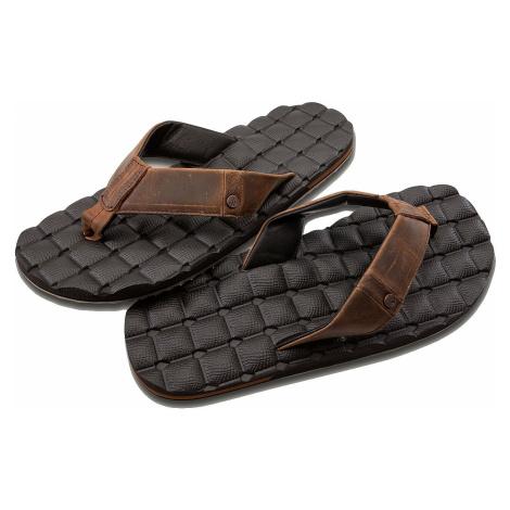 flip flops Volcom Recliner Leather - Brown Stone - men´s