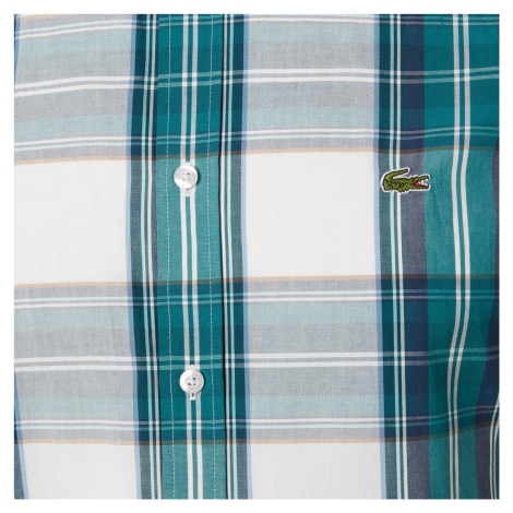 Lacoste Men's Short Sleeve Check Shirt - Green Navy/White - L/EU 41