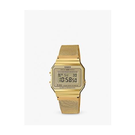 Casio A700WEMG-9AEF Unisex Mesh Bracelet Strap Watch, Gold/Grey