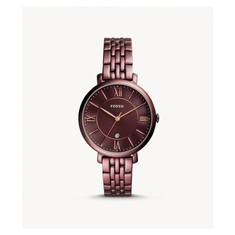 Fossil Women's Jacqueline Three-Hand Date Wine Stainless Steel Watch